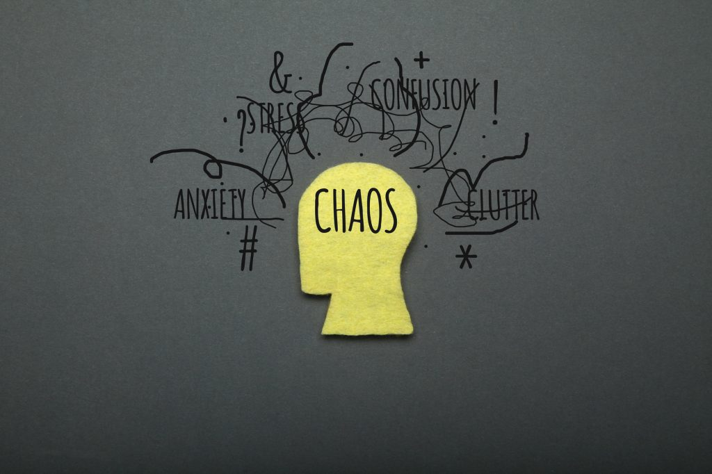 Human anxiety, brain chaos concept. Mental confusion.